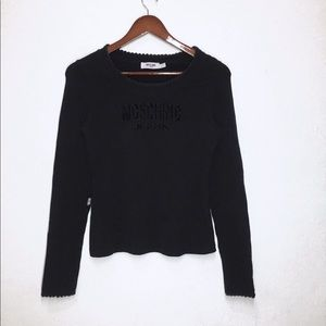 Moschino logo cut out long sleeve top